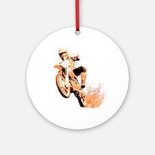 Orange dirtbike Ornament (Round)