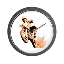 Orange dirtbike Wall Clock