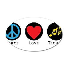 PEACE LOVE TECHNO 4 Wall Decal