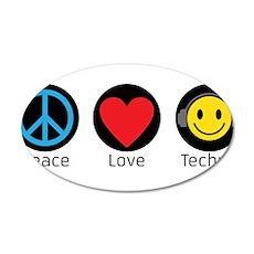 PEACE LOVE TECHNO 3 Wall Decal