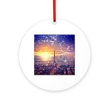 Paris Eiffel Tower Round Ornament