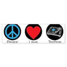 PEACE LOVE TECHNO 2 Bumper Bumper Sticker