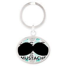 Mustache Oval Keychain