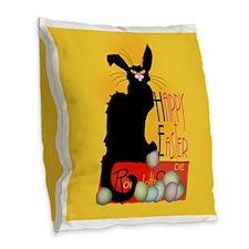 Le Chat Noir - Easter 2 Burlap Throw Pillow