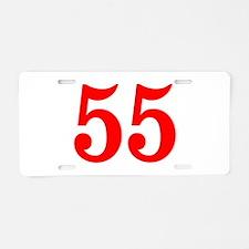 RED #55 Aluminum License Plate