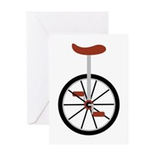 Red Unicycle Greeting Cards