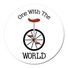 One With The World Round Car Magnet
