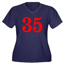 RED #35 Women's Plus Size V-Neck Dark T-Shirt