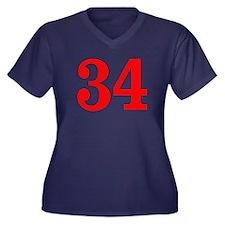 RED #34 Women's Plus Size V-Neck Dark T-Shirt