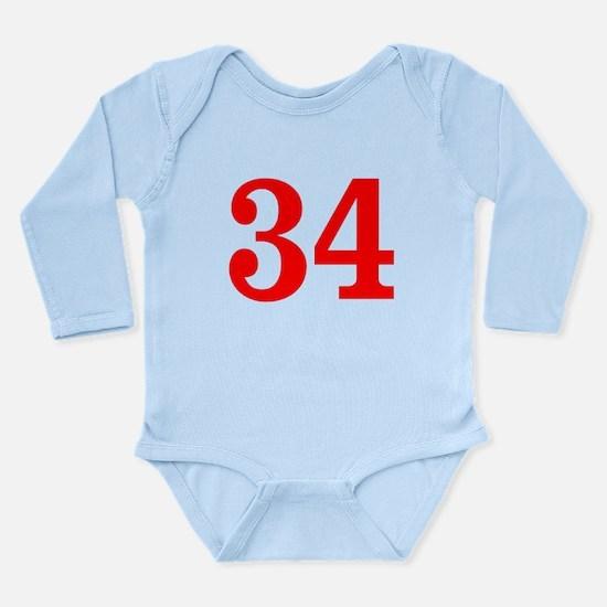 RED #34 Long Sleeve Infant Bodysuit
