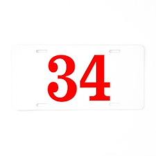 RED #34 Aluminum License Plate