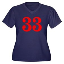 RED #33 Women's Plus Size V-Neck Dark T-Shirt