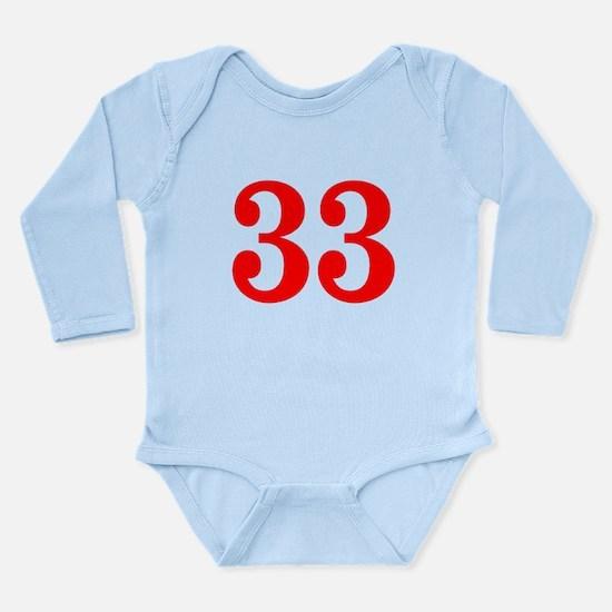 RED #33 Long Sleeve Infant Bodysuit