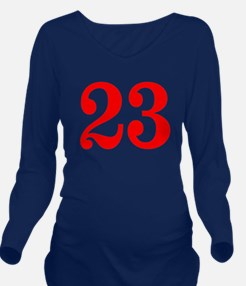 RED #23 Long Sleeve Maternity T-Shirt