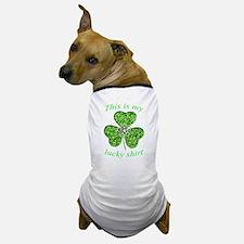 Funny Glitter Shamrock Shirt Dog T-Shirt