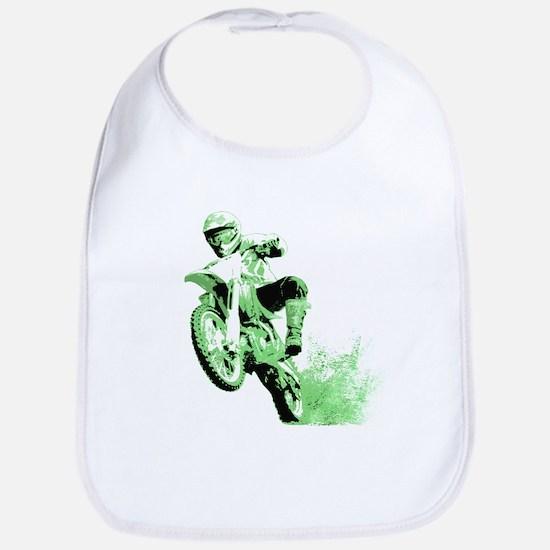 Green Dirtbike Wheeling in Mud Bib