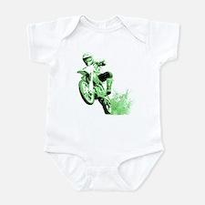 Green Dirtbike Wheeling in Mud Infant Bodysuit