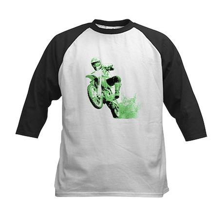 Green Dirtbike Wheeling in Mud Kids Baseball Jerse