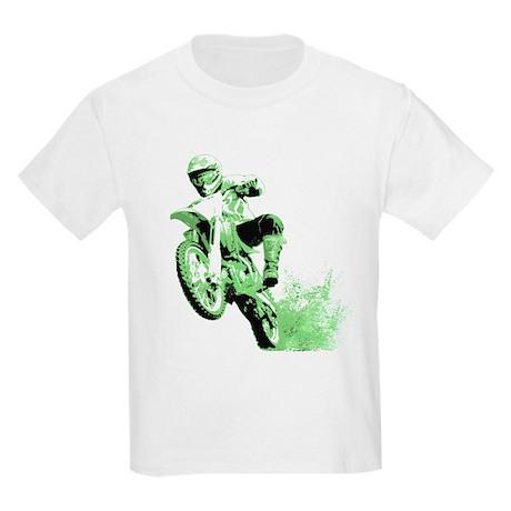 Green Dirtbike Wheeling in Mud Kids Light T-Shirt