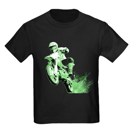 Green Dirtbike Wheeling in Mud Kids Dark T-Shirt
