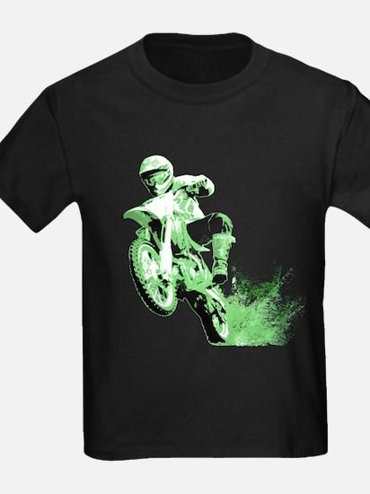 Green Dirtbike Wheeling in Mud T