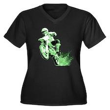 Green Dirtbike Wheeling in Mud Women's Plus Size V