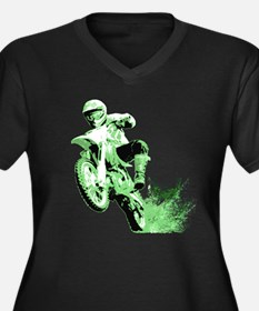 Green Dirtbike Wheeling in Mud Women's Plus Size V