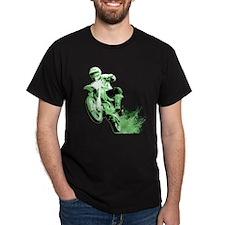 Green Dirtbike Wheeling in Mud T-Shirt