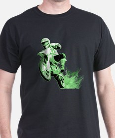 Green Dirtbike Wheeling in Mud T-Shirt