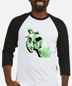 Green Dirtbike Wheeling in Mud Baseball Jersey
