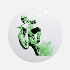 Green Dirtbike Wheeling in Mud Ornament (Round)
