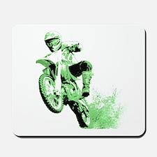 Green Dirtbike Wheeling in Mud Mousepad