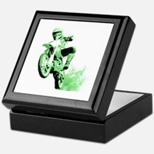 Green Dirtbike Wheeling in Mud Keepsake Box