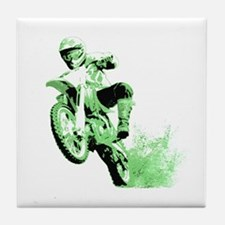 Green Dirtbike Wheeling in Mud Tile Coaster
