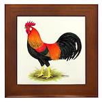 Brown Leghorn Rooster Framed Tile