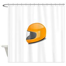 Orange Motorcycle Helmet Shower Curtain