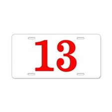 RED #13 Aluminum License Plate