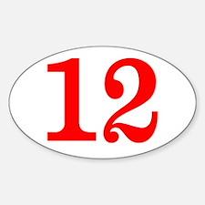 RED #12 Sticker (Oval)