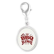 BBQ KING Silver Oval Charm