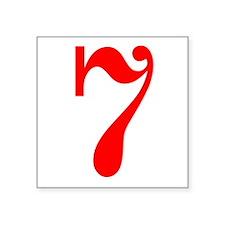 "RED #7 Square Sticker 3"" x 3"""