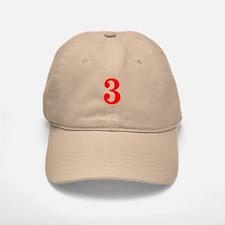 RED #3 Baseball Baseball Cap