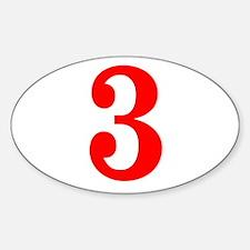 RED #3 Sticker (Oval)