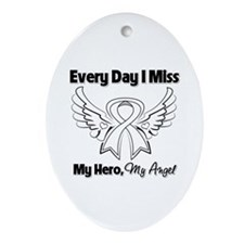 Lung Cancer Miss My Hero Ornament (Oval)