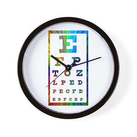 Rainbow Eye Chart Wall Clock
