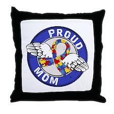 Proud Mom 3 Blue Autism Throw Pillow