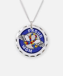 Proud Mom 3 Blue Autism Necklace