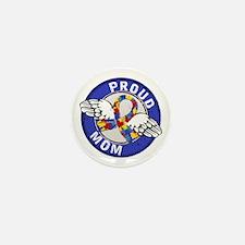 Proud Mom 3 Blue Autism Mini Button