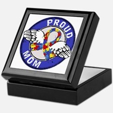 Proud Mom 3 Blue Autism Keepsake Box