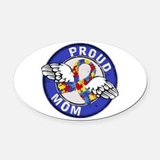 Proud Mom 3 Blue Autism Oval Car Magnet