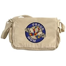 Proud Mom 3 Blue Autism Messenger Bag